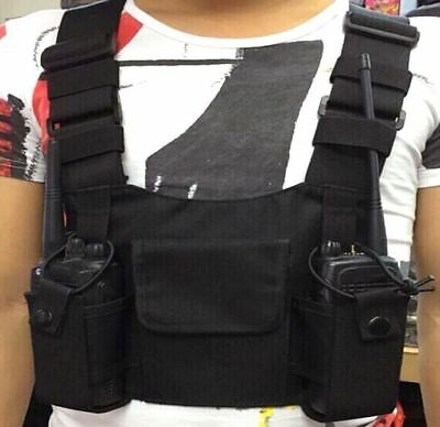 Universal Hands Free Chest Harness Bag Holsterfor Two Way Radio Holster Clips