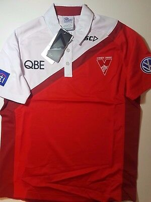 ISC SYDNEY SWANS PERFORMANCE POLY POLO SHIRT AFL Footy Official On Field Gear$90