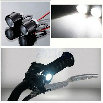 2Pcs Moto Guidon Mains éclairage Blanc LED Clignotants Diurne Lampe Phare HG