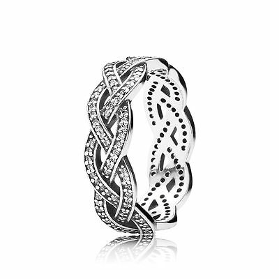 Genuine Authentic Pandora Silver Braided Ring 190913Cz Size 54