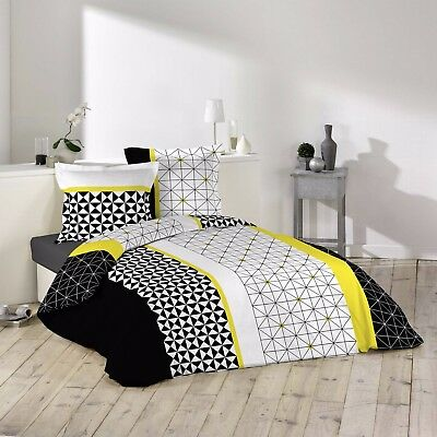 "Housse de couette + 2 taies 240x260cm ""YELLOWMETRIC"" 100% Coton 57 Fils"