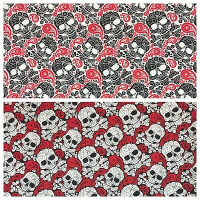 "Halloween Skull Paisley printed poly-cotton fabric 58"" M754 Mtex"