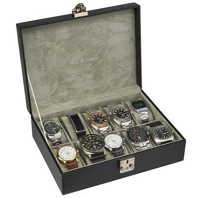 Mens Gents Vintage Black Wooden 10 Slot Watch Display Case Wood Storage Box