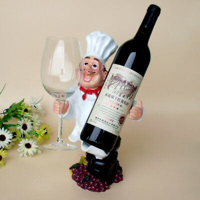 1Pcs Creative Figures Wine Rack Personality Chef Ornaments New Resin Wine Rack