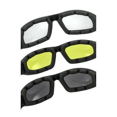 3PCS Night Riding YELLOW CLEAR Lens Motorcycle Goggles Foam Padded Biker Glasses