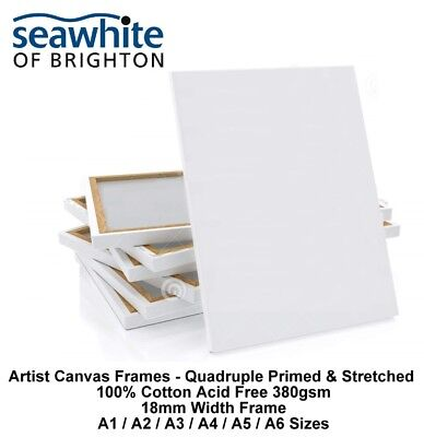 Canvas Frames Acrylic Stretched Primed Frame Box 380gsm Cotton 18mm Deep (A1-A6)