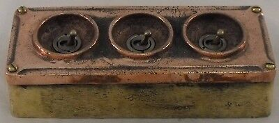NEW Copper & Brass 3 Gang Vintage Industrial Light Switch - BS EN Approved