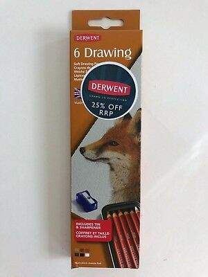 Derwent Soft Drawing Pencils 6 Pack - Includes Tin and Sharpener