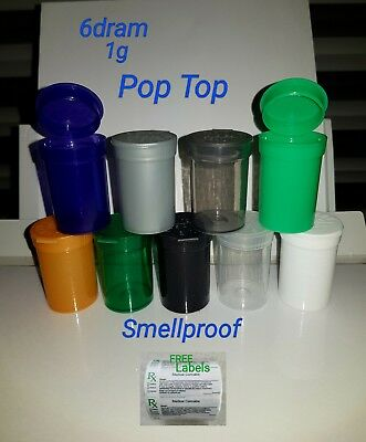 NEW 10x 6Dram(1g) smellproof pop top medical cannabis/weed pill tubs FREE LABELS