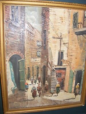 Vintage Oil Painting Of An Italian Street Oil On Canvas On Board