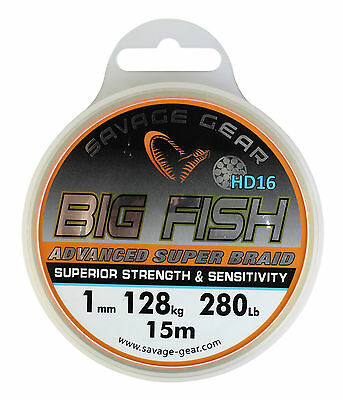 Savage Gear Big Fish HD 16 Braid 280lbs/128kg/1mm/15M Sheatfish Halibut 46944