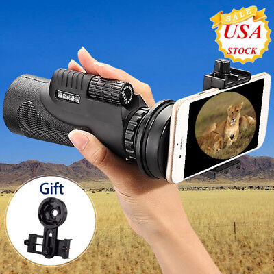 Monocular 12x50 Zoom Camera Lens Telescope &Tripod &Universal Clip For Cellphone