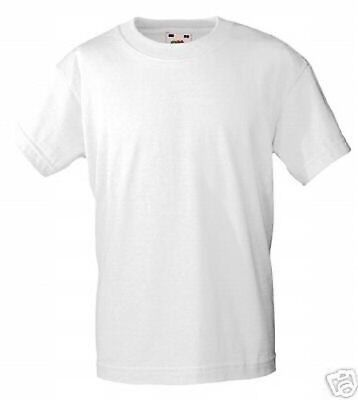 T-Shirt 30x Children Fruit of the Loom Short Sleeved White 92-164 Cotton