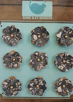 Small paper flowers for scrapbooking - Navy Gold - pk 9
