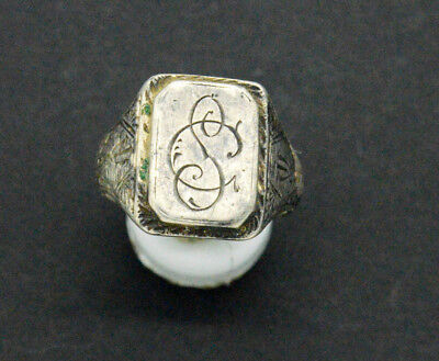 Medieval period Silver Ring with engraving. 17-18 Century