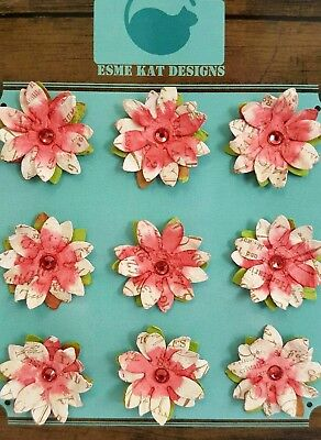 Small paper flowers for scrapbooking - Watermelon - pk 9