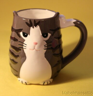 New TAG Ceramic 3 D Gray Stripe Tabby Cat Lover Kitten 14oz Mug Tail Handle