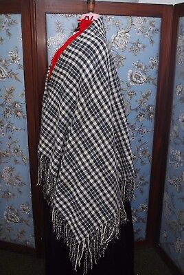 Lovely Antique Welsh Pure Wool Black/White Check Shawl/Blanket Collectors Item