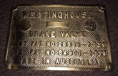 Westinghouse Brake Valve Build Plate NSWGR