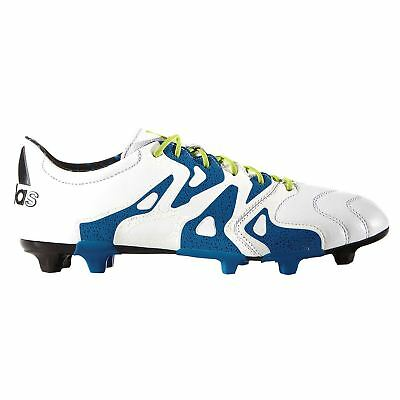 adidas X 15.2 Leather FG Firm Ground Football Boots Mens Wht/Blu Soccer Shoes