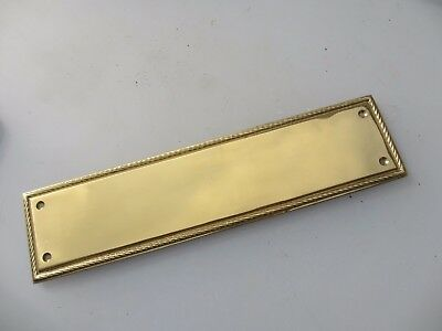Brass Finger Plate Push Door Handle Antique Georgian Style Rope Edge Vintage 12""