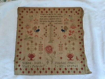 Antique 1831 Sampler by boy William Booth birds trees