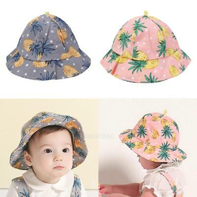 Newborn Infant Baby Girl Boys Sun Hats Cotton Fisherman Cap Pineapple Floral Hat