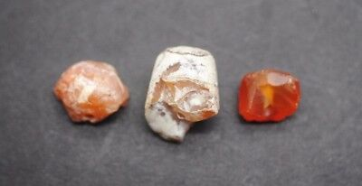 Three Ancient Egyptian Carnelian Carved And Polished Beads, Middle Kingdom