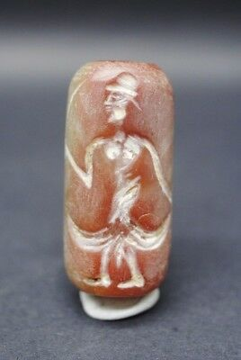 Sassanian Style Carnelian Stone Seal With Anthromorphic Impression