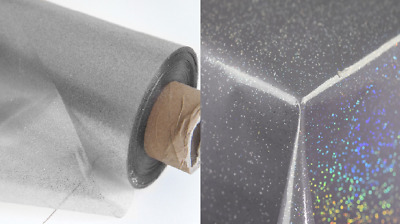 Silver Glitter Waterproof Clear Plastic Wipe Clean Vinyl Table Cloth Transparent