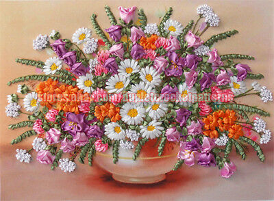 Field Flowers With Clover ribbon embroidery DIY kit wall hanging room decor
