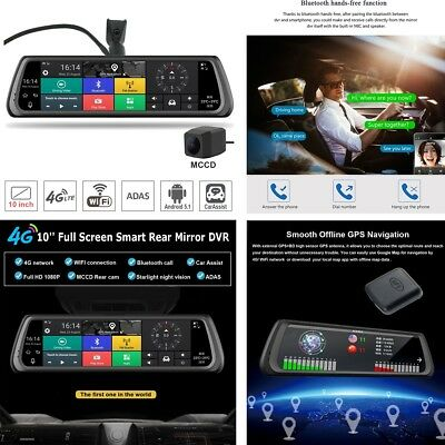 """10"""" Touch 4G Special Car DVR Camera Mirror Android 5.1 Wifi bluetooth GPS ADAS"""