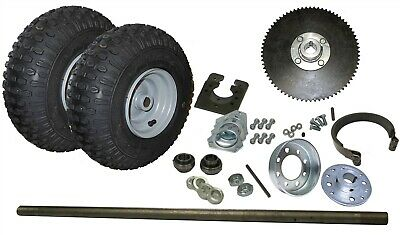 "New! Go Kart Rear End Kit w/ Tires, Rims, 1"" Axle, Brake & #35 Chain Sprocket"