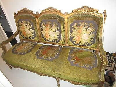 Vintage Antique French Louis Gilt Baroque Salon Boudoir Sofa Chaise Lounge