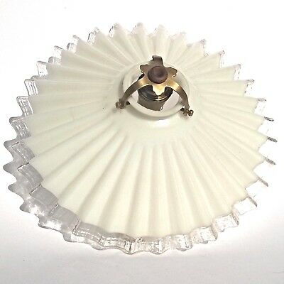 French Ceiling Cooly Milkglass Opalin Feston White Clear Frilly Edge Light Shade