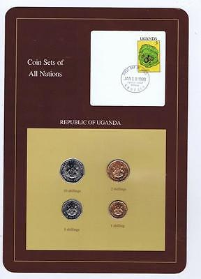 Republic of Uganda 4 pc Mint set 1987 BU Coin Sets of All Nations stamp