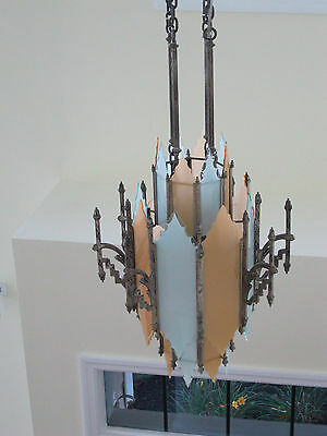 Antique RARE Original 1920s Art Deco Pendant Light Chandelier-Hand Cut Glass