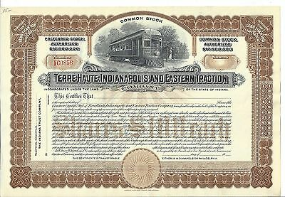 Terre Haute, Indianapolis And Eastern Traction Company....unissued Stock Cert.