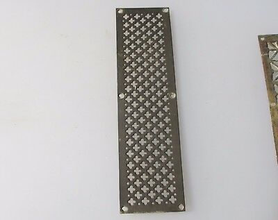 Victorian Brass Finger Plate Push Door Handle Gothic Grate Vent Grille Antique