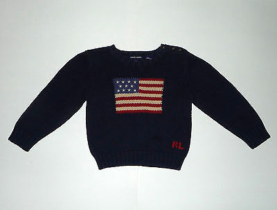 Ralph Lauren Polo American Flag Sweater - Size 4T - Pre-Owned With Flaw