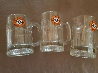 3 VTG A & W ROOT BEER MUG Heavy Glass 5 inches tall  • Excellent bullseye arrow