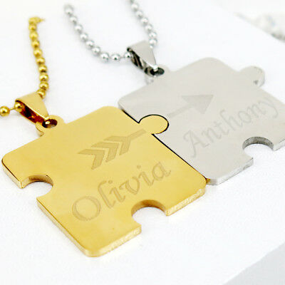 Personalized Puzzle Necklace Matching Puzzle Couples Necklace Engraved Any Name