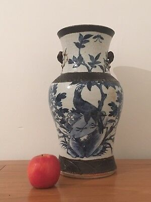 Huge Chinese Blue And White Vase Birds Signed