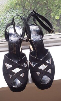 RARE SEXY 1940s Black Suede Gold Ankle Strap Peep-Toe Shoes