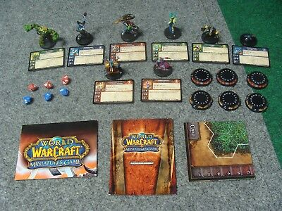 World of Warcraft Miniatures Game - 8 Figure Lot w/ Dice, Cards and Bases * WOW