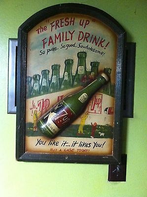 Rare 7 Up-The Fresh Up Family Drink, So Good, Embossed Advertising Wood Sign VTG