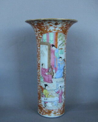 A Tall Chinese Canton Rose Mandarin Vase, 19th C.