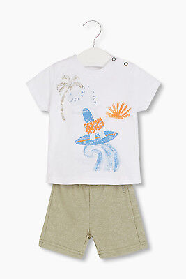 NEW Esprit Kids Set: Dino T-shirt and sweatshirt shorts PALE KHAKI
