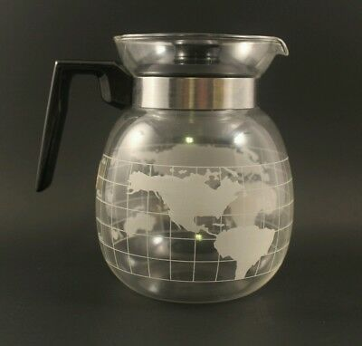 Vintage Nescafe Frosted Glass Globe World Coffee pot/Tea Pot/Carafe Rare
