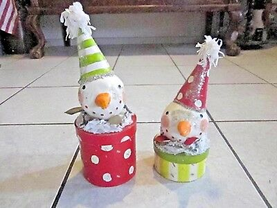 Penny McAllister for Midwest of Cannon Falls Snowman Box Folk Art Set of 2